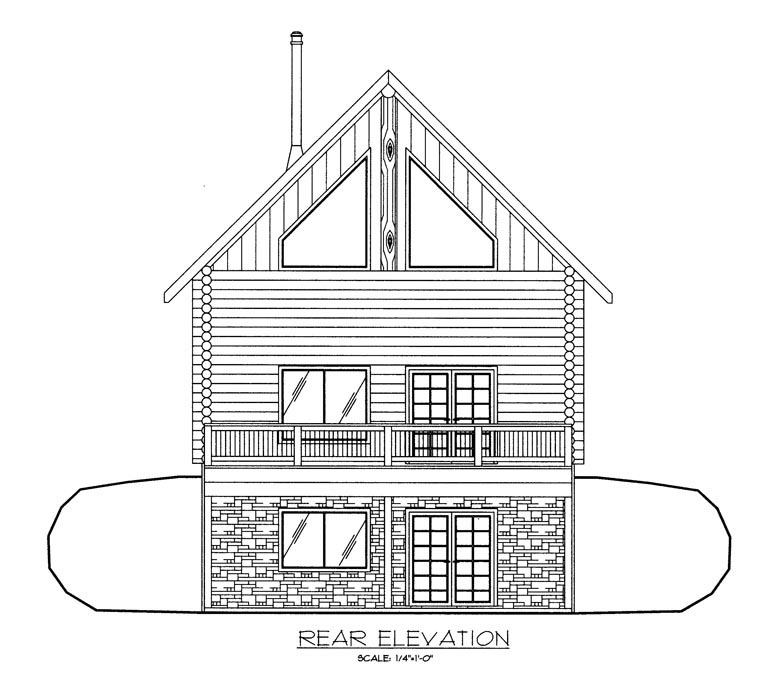 Log House Plan 85869 Rear Elevation
