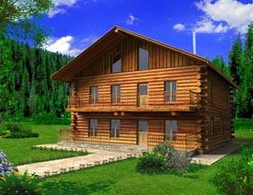 Log House Plan 85870 Elevation