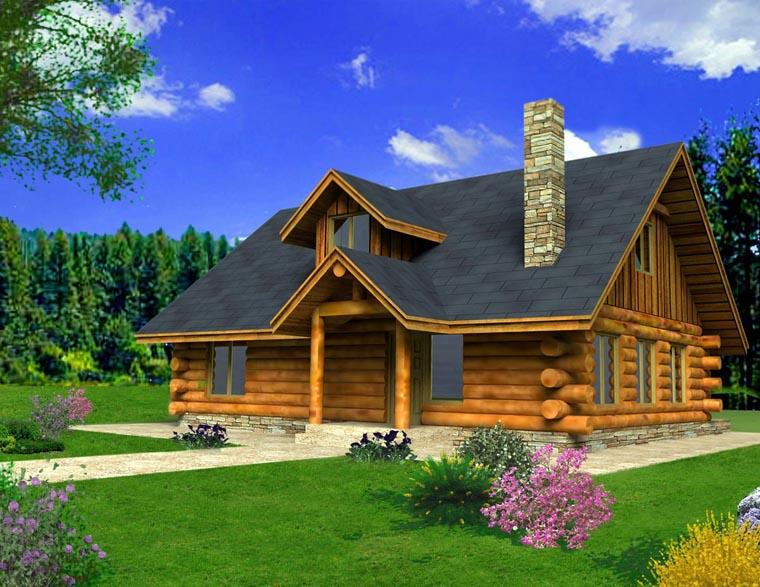 Log House Plan 85871 Elevation