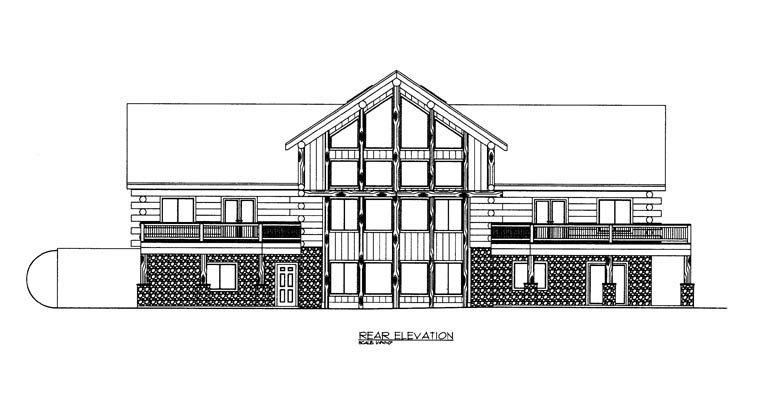 Log House Plan 85872 Rear Elevation