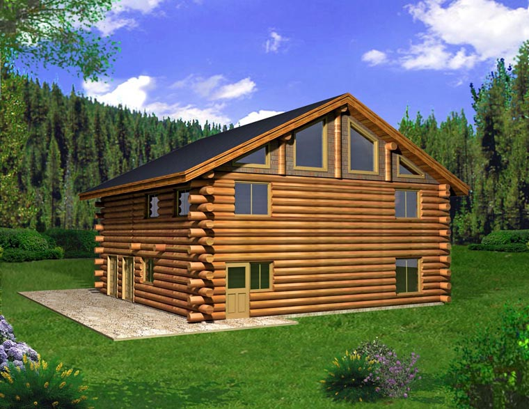 Log House Plan 85874 Elevation