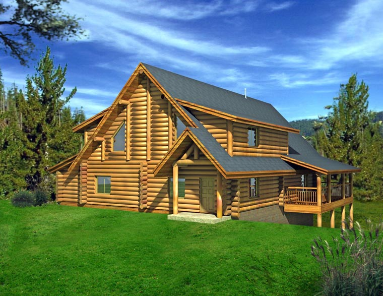 Log House Plan 85875 Elevation