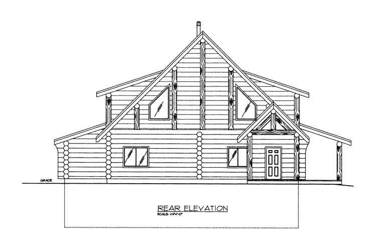 Log House Plan 85875 Rear Elevation