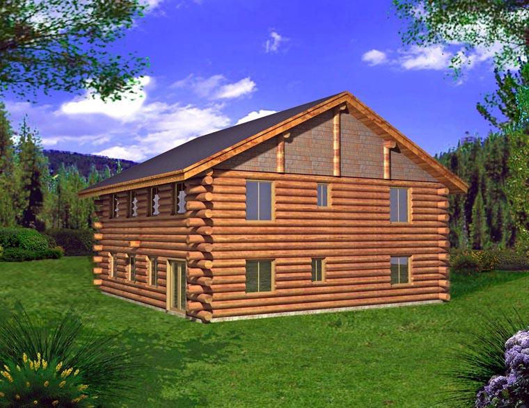 Log Garage Plan 85876 Elevation