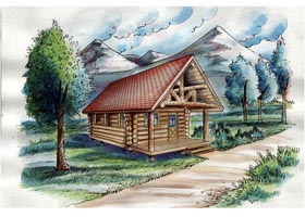 Cabin , Log House Plan 85877, 1 Baths Elevation