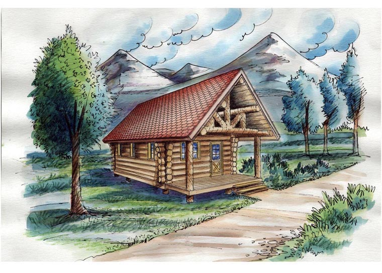 Cabin Log House Plan 85877 Elevation