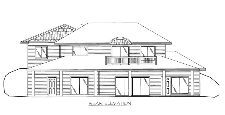 House Plan 85879 with 3 Beds, 3 Baths, 2 Car Garage Rear Elevation