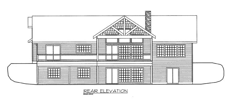 House Plan 85891 with 4 Beds, 4 Baths, 3 Car Garage Rear Elevation