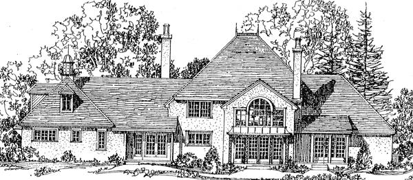 European Tudor House Plan 86018 Rear Elevation