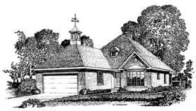 European House Plan 86019 with 3 Beds, 2 Baths, 2 Car Garage Elevation