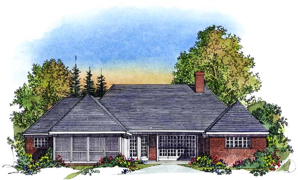 European Tudor House Plan 86021 Rear Elevation