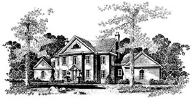 Colonial House Plan 86023 with 5 Beds, 4 Baths, 3 Car Garage Elevation