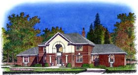 Colonial , European House Plan 86038 with 5 Beds, 5 Baths, 3 Car Garage Elevation