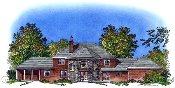 Colonial European House Plan 86038 Rear Elevation
