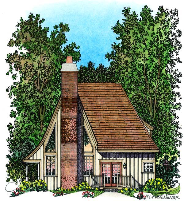 European House Plan 86045 Rear Elevation