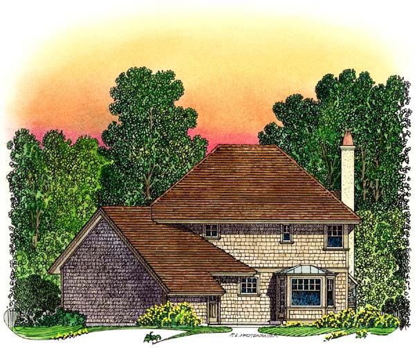 European Tudor House Plan 86047 Rear Elevation