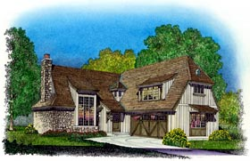 House Plan 86048 | Tudor Style Plan with 1908 Sq Ft, 3 Bedrooms, 3 Bathrooms, 2 Car Garage Elevation