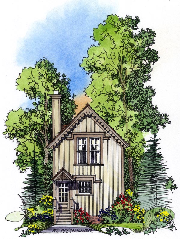 Country , Victorian House Plan 86049 with 2 Beds, 2 Baths Rear Elevation