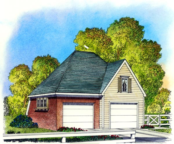 Colonial Cottage Garage Plan 86050 Elevation