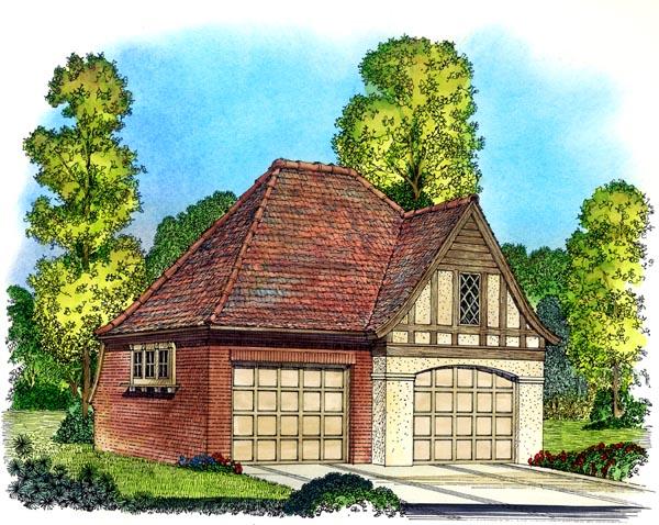 Cottage , European , Tudor , Victorian 2 Car Garage Plan 86051 Elevation