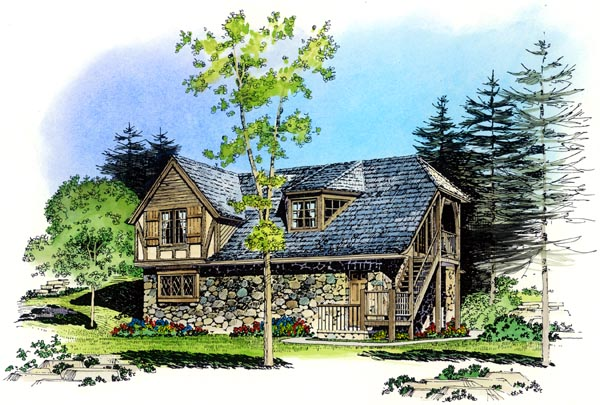 Cottage, Country, European, Tudor 3 Car Garage Apartment Plan 86062 with 2 Beds, 1 Baths