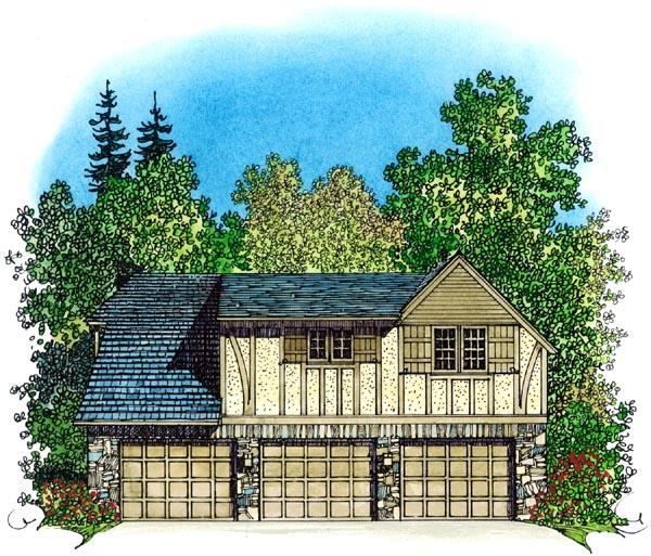 Picturesque Garage Apartment 43023pf: Tudor Style 3 Car Garage Apartment Plan 86062