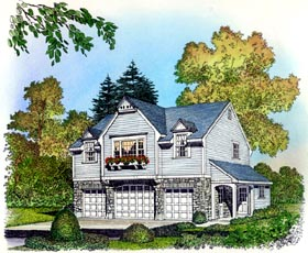 Cape Cod Colonial Country Traditional Garage Plan 86063 Elevation