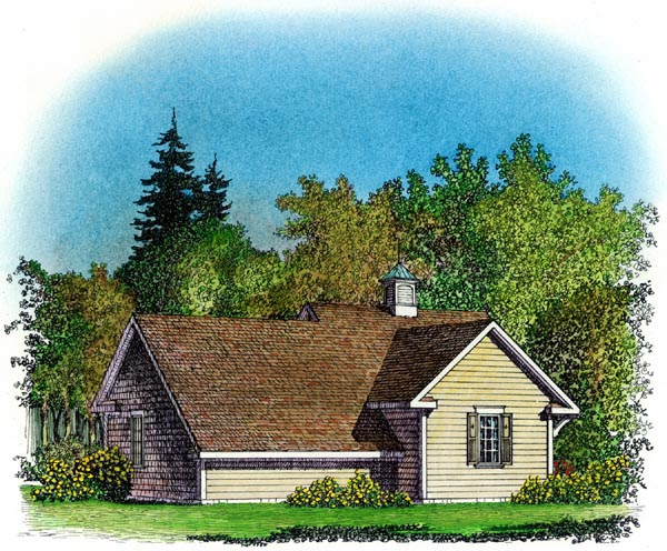 Cape Cod Colonial Cottage Farmhouse Traditional Garage Plan 86064 Rear Elevation