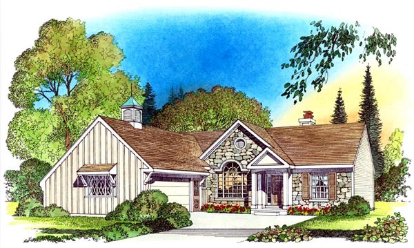 European Ranch Traditional House Plan 86065 Elevation