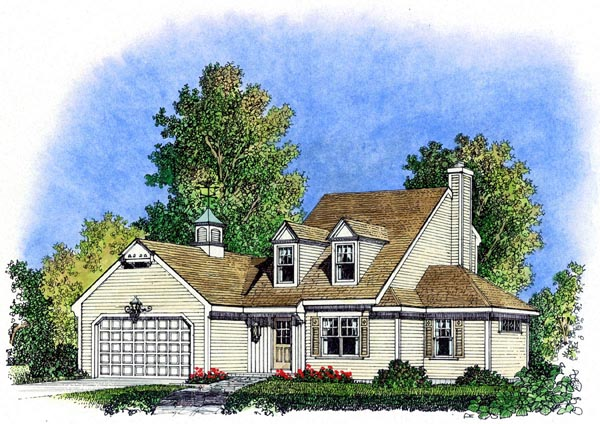 Cape Cod , Colonial , Cottage , Farmhouse , Traditional House Plan 86069 with 3 Beds, 3 Baths, 2 Car Garage Elevation