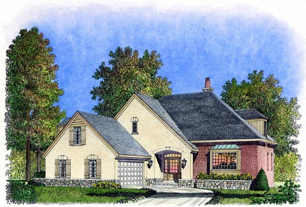 European, Mediterranean, Traditional House Plan 86070 with 3 Beds, 3 Baths, 2 Car Garage Elevation