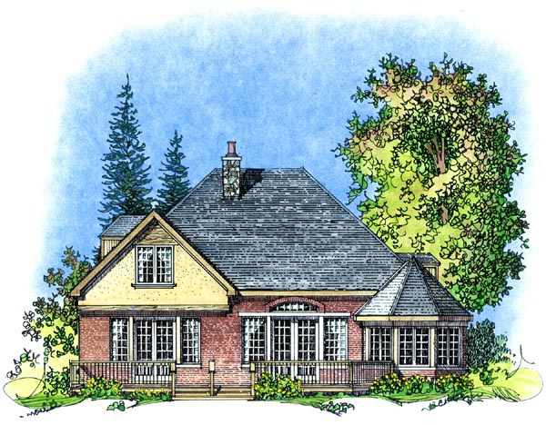 Traditional , Mediterranean , European House Plan 86070 with 3 Beds, 3 Baths, 2 Car Garage Rear Elevation
