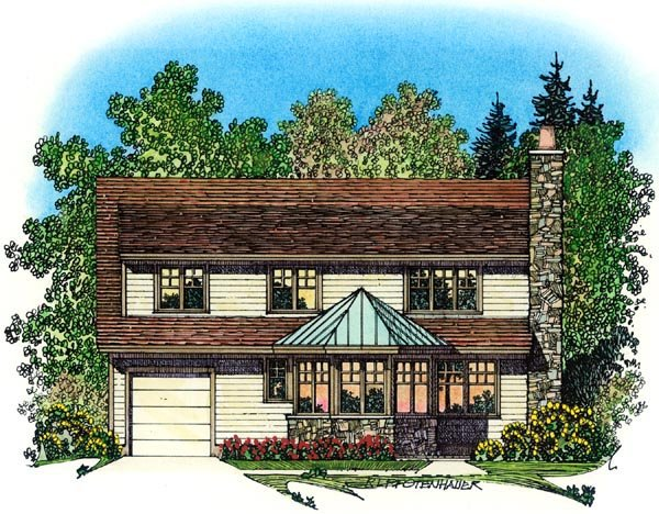European Mediterranean Traditional Tudor House Plan 86072 Rear Elevation
