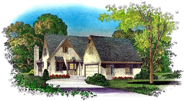 Country, European, Narrow Lot, Tudor House Plan 86074 with 4 Beds, 3 Baths, 2 Car Garage Elevation