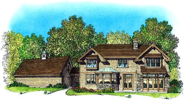 Bungalow Craftsman House Plan 86076 Rear Elevation