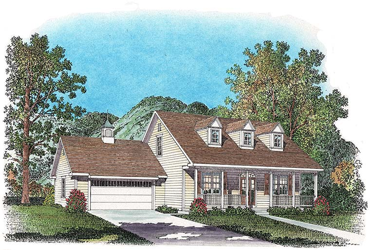 Colonial , Cottage , Country House Plan 86077 with 3 Beds, 3 Baths, 2 Car Garage Elevation