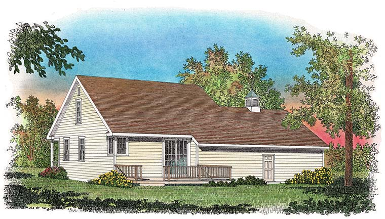 Colonial , Cottage , Country House Plan 86077 with 3 Beds, 3 Baths, 2 Car Garage Rear Elevation