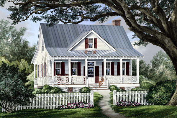 Cape Cod Cottage Country Southern Elevation of Plan 86101