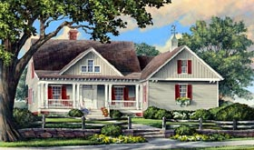 House Plan 86107 | Cottage Country Craftsman Traditional Style Plan with 2404 Sq Ft, 4 Bedrooms, 3 Bathrooms, 2 Car Garage Elevation