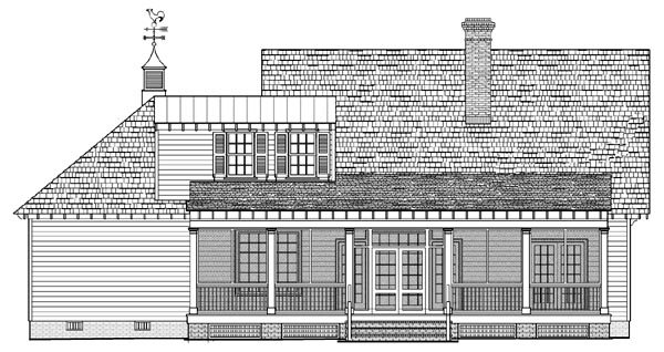 Cottage Country Craftsman Traditional House Plan 86107 Rear Elevation