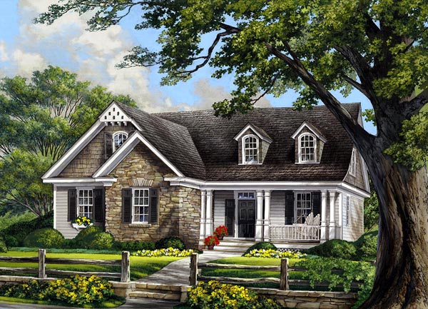 Bungalow, Cape Cod, Cottage, Country, Craftsman House Plan 86109 with 3 Beds, 3 Baths, 2 Car Garage Elevation