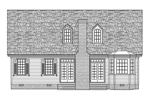 Bungalow Cape Cod Cottage Country Craftsman Rear Elevation of Plan 86109