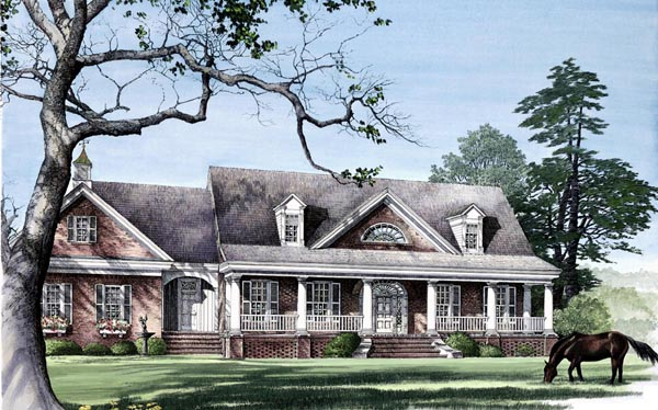 Colonial Country Southern Traditional Elevation of Plan 86112