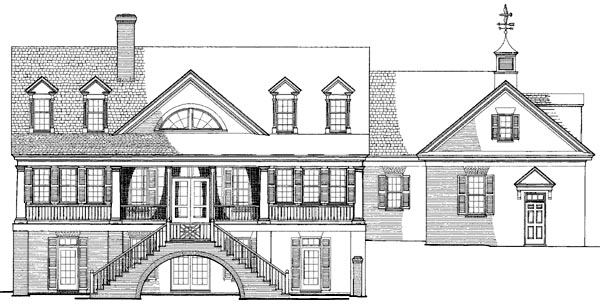 Colonial Country Southern Traditional Rear Elevation of Plan 86112