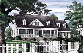 Colonial Country Farmhouse Southern House Plan 86114 Elevation