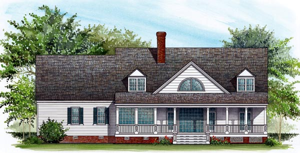 Colonial Country Farmhouse Southern House Plan 86114 Rear Elevation