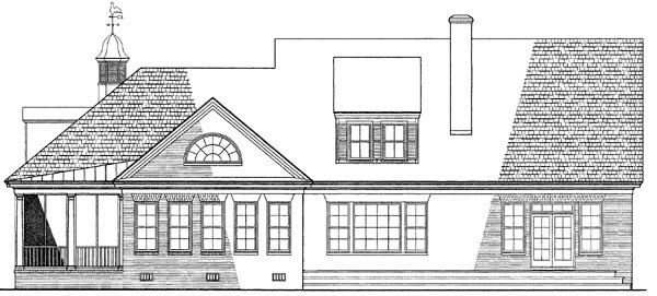 Southern , Farmhouse , Country , Cape Cod House Plan 86118 with 4 Beds, 3 Baths, 2 Car Garage Rear Elevation