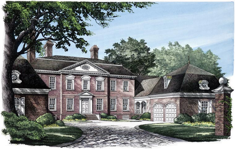 House Plan 86119 | Colonial Traditional Style Plan with 6549 Sq Ft, 6 Bed, 7 Bath, 4 Car Garage Elevation