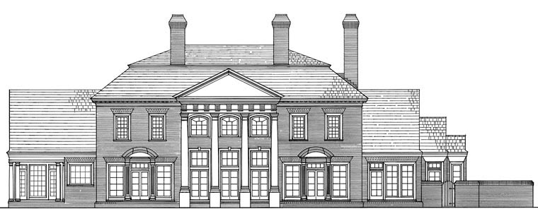 Colonial, Traditional House Plan 86119 with 6 Beds, 7 Baths, 4 Car Garage Rear Elevation