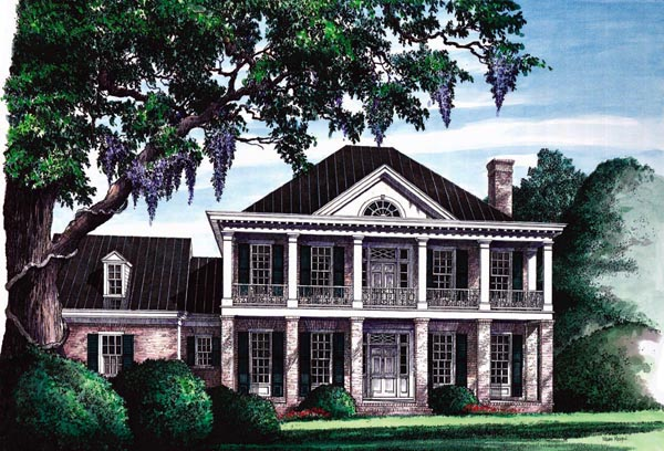 Southern , Plantation , Colonial , Elevation of Plan 86120